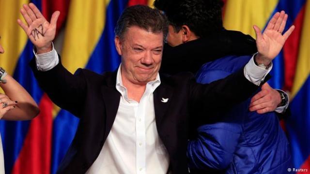 O presidente Juan Manuel Santos, em imagem da TV alemã DW.