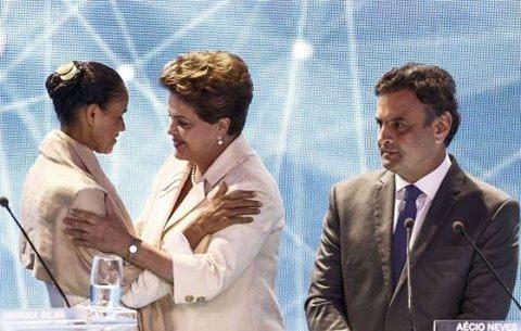 Maria, Dilma e Aécio no debate da Band.